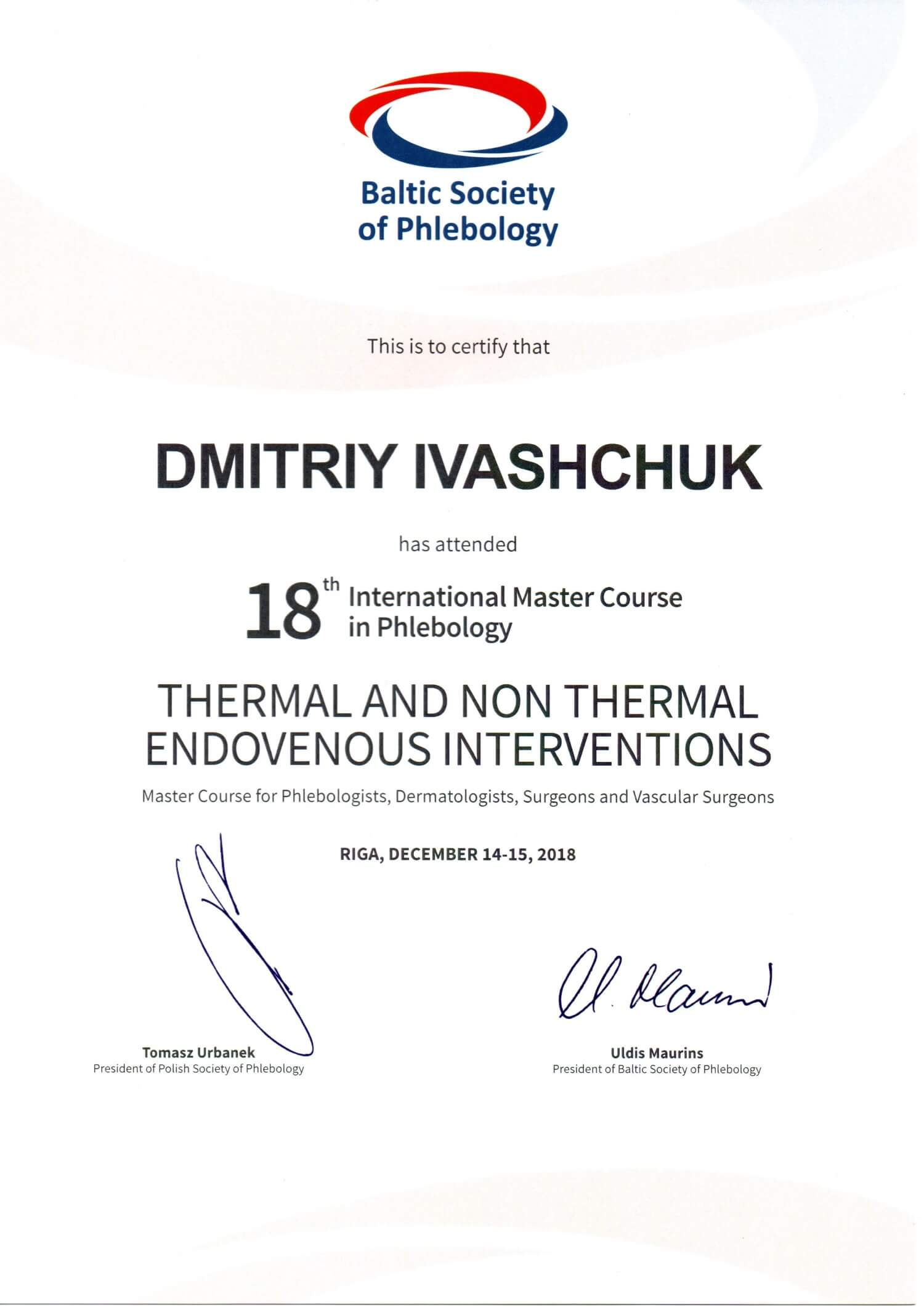 Конгресс Thermal and non thermal endovenous interventions